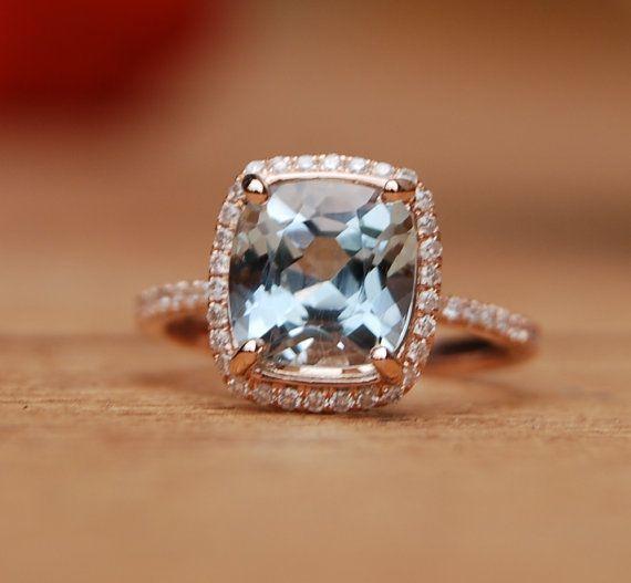 2 38ct blue green Aquamarine halo diamond ring cushion cut 14k