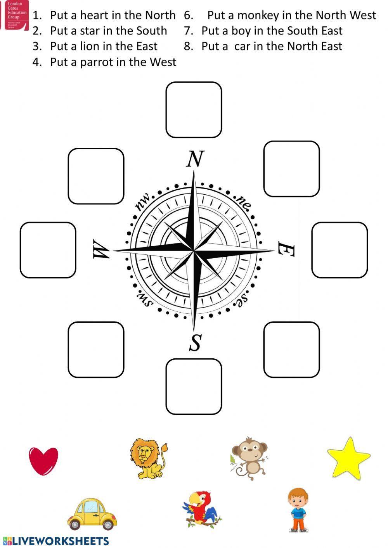 Compass Rose Worksheet 3rd Grade Cardinal Directions