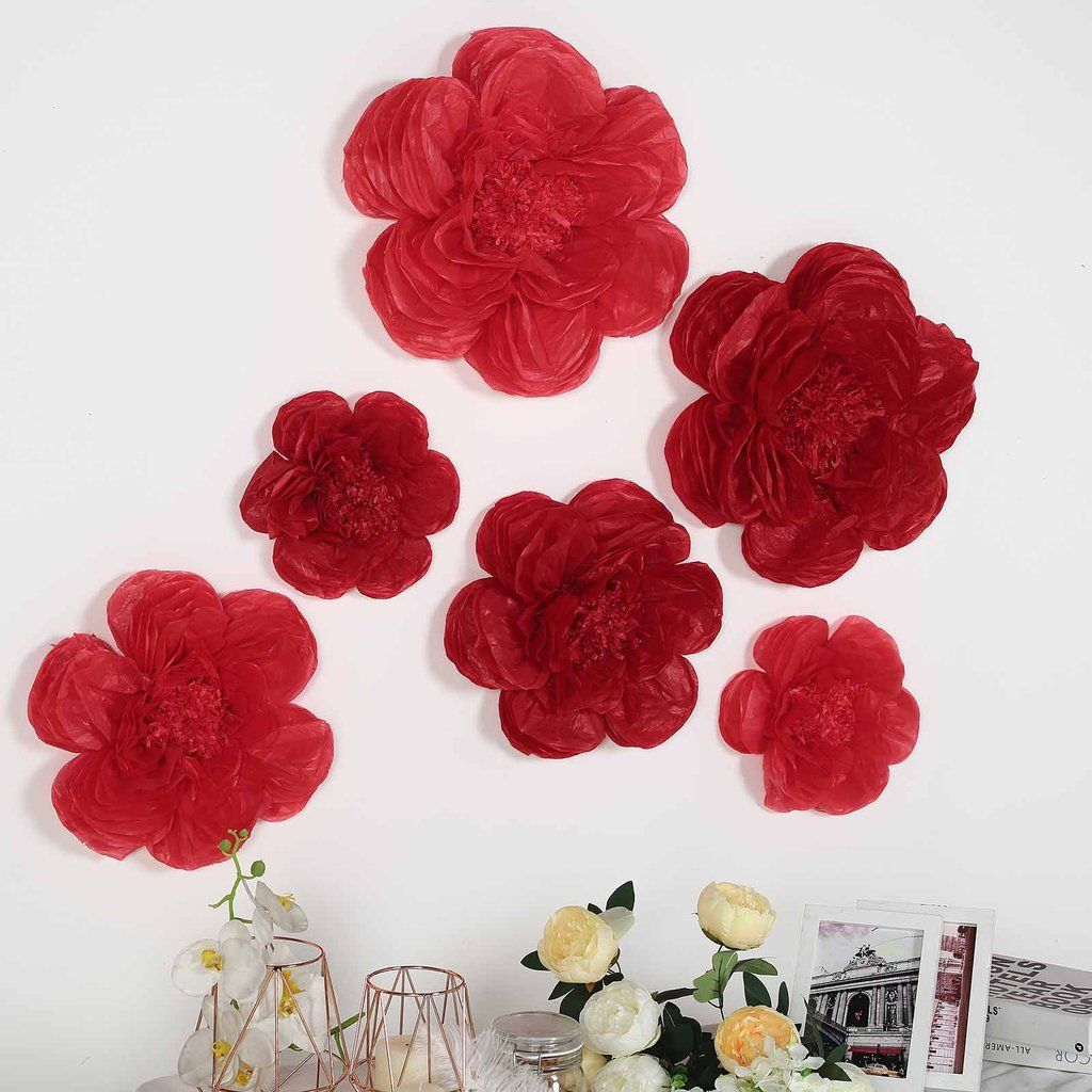 6 Pack Red Wine Giant Paper Flowers Peony Assorted Sizes 12 16 20 In 2020 Giant Paper Flowers Paper Flowers Flower Crafts