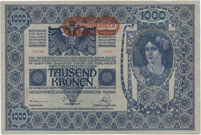 1000 Kronen 1919 überdruckprovisorium Ii Auflage Rv