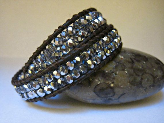 Beaded Leather Wrap Bracelet Lavender by CristinaDavisJewelry, $35.00
