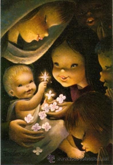 Felicitaci n navidad ferrandiz la virgen con el ni o - Postales de navidad para hacer con ninos ...