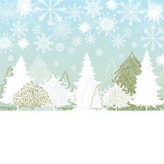 フリーイラスト素材 イラスト 風景 自然 木 樹木 雪 雪の結晶