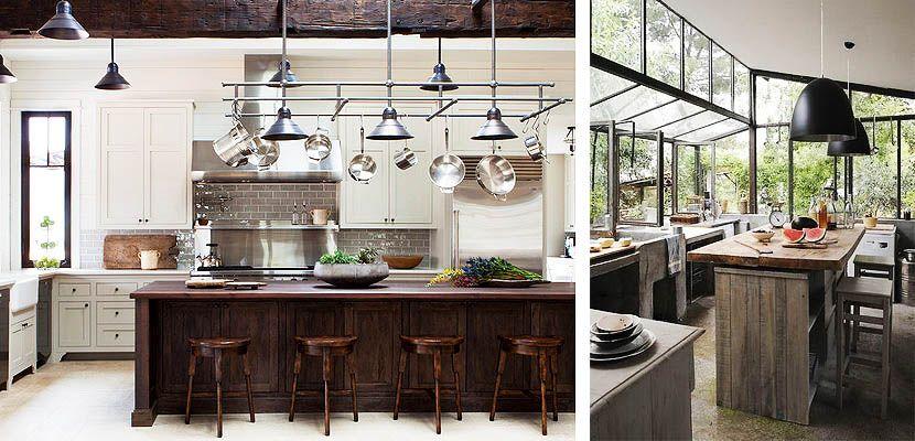 Cocinas con islas de madera Cocinas rusticas Pinterest - Imagenes De Cocinas