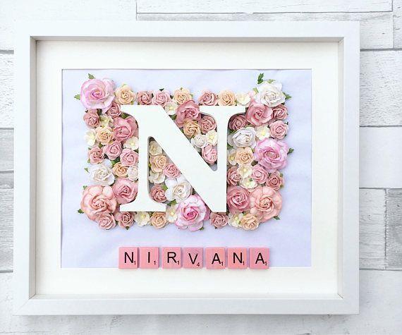 framed floral letter - girl nursery decor - wall art - home decor ...