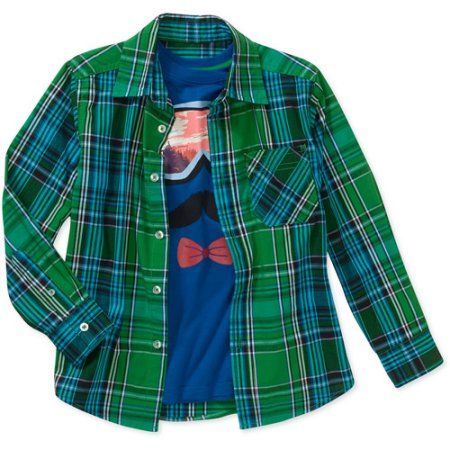 6f638bbf Faded Glory Boys' 2 Piece Long Sleeve Graphic Tee And Woven Shirt, Size: