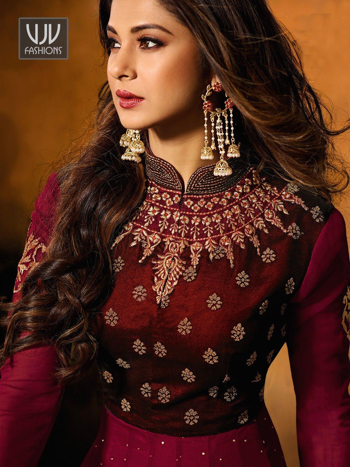976e262e641404 Jennifer Winget Maroon Color Silk Designer Anarkali Suit in 2019 ...
