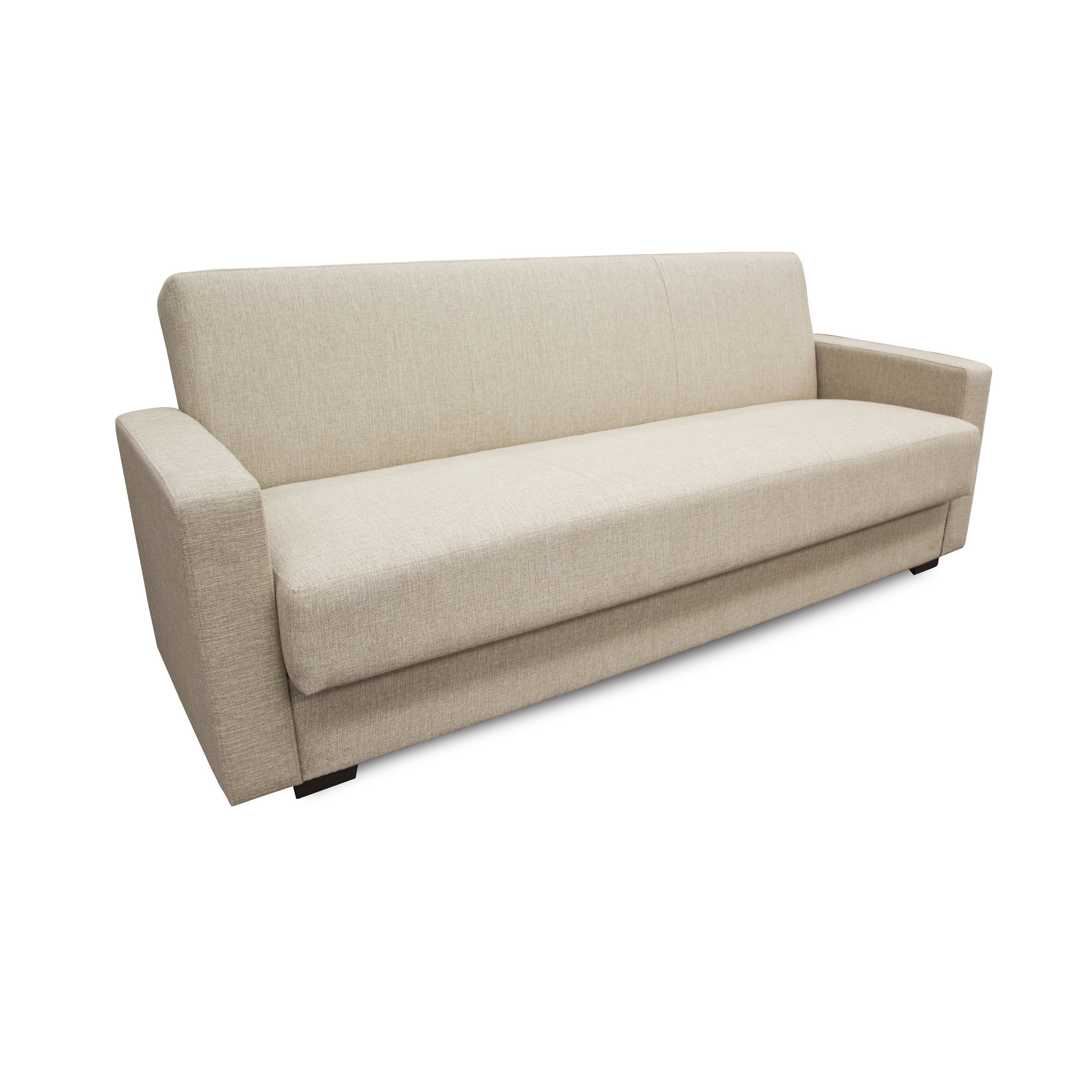 This stylish sofa bed will add convenience and modern flair to your living room. The sofa seat lies flat to convert to a bed for the night. The sofa has a storage compartment beneath the cushion to store extra pillows and blankets.