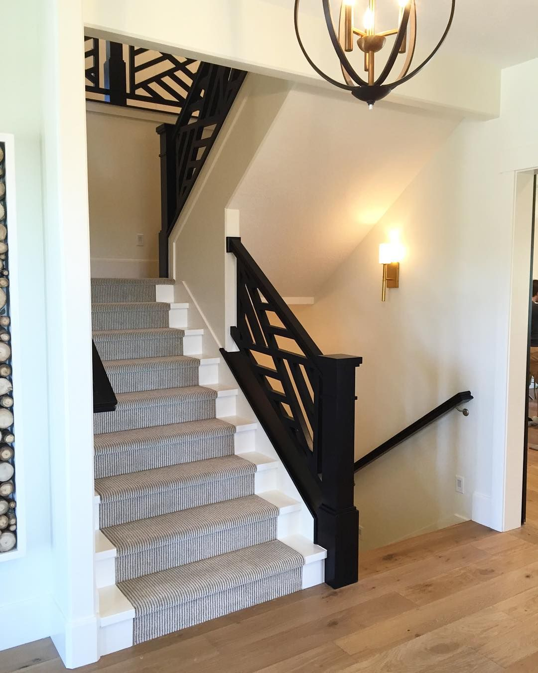 I Love This Black Railing With White Painted Stairs And A