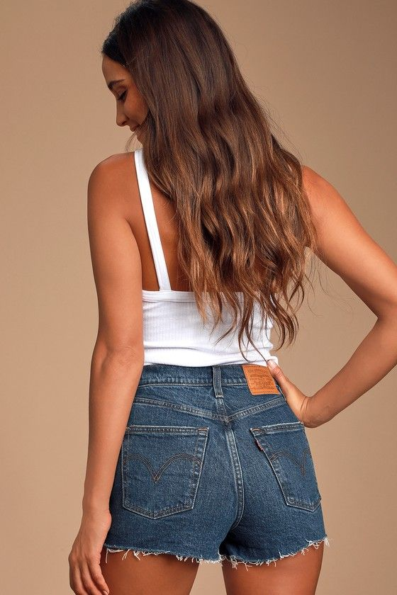 Ribcage Medium Wash High-Rise Denim Cutoff Shorts