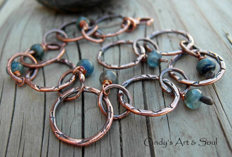 Blue Kyanite Gemstone Bracelet Pure Copper by ArtandSoulJewelry, $54.00