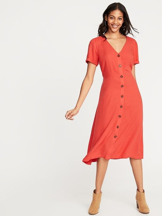 5fb0bc0590 Waist-Defined V-Neck Button-Front Midi for Women | Old Navy | Gimme ...