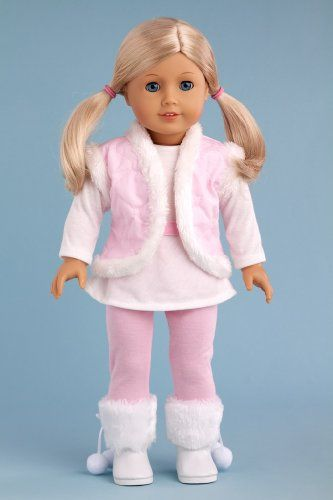 Snowflake - 4 piece outfit includes, leggings, long sleeve tunic, vest and boots - 18 Inch American Girl Doll Clothes DreamWorld Collections http://www.amazon.com/dp/B00CYXXF4Y/ref=cm_sw_r_pi_dp_niAYub0F7W25Y