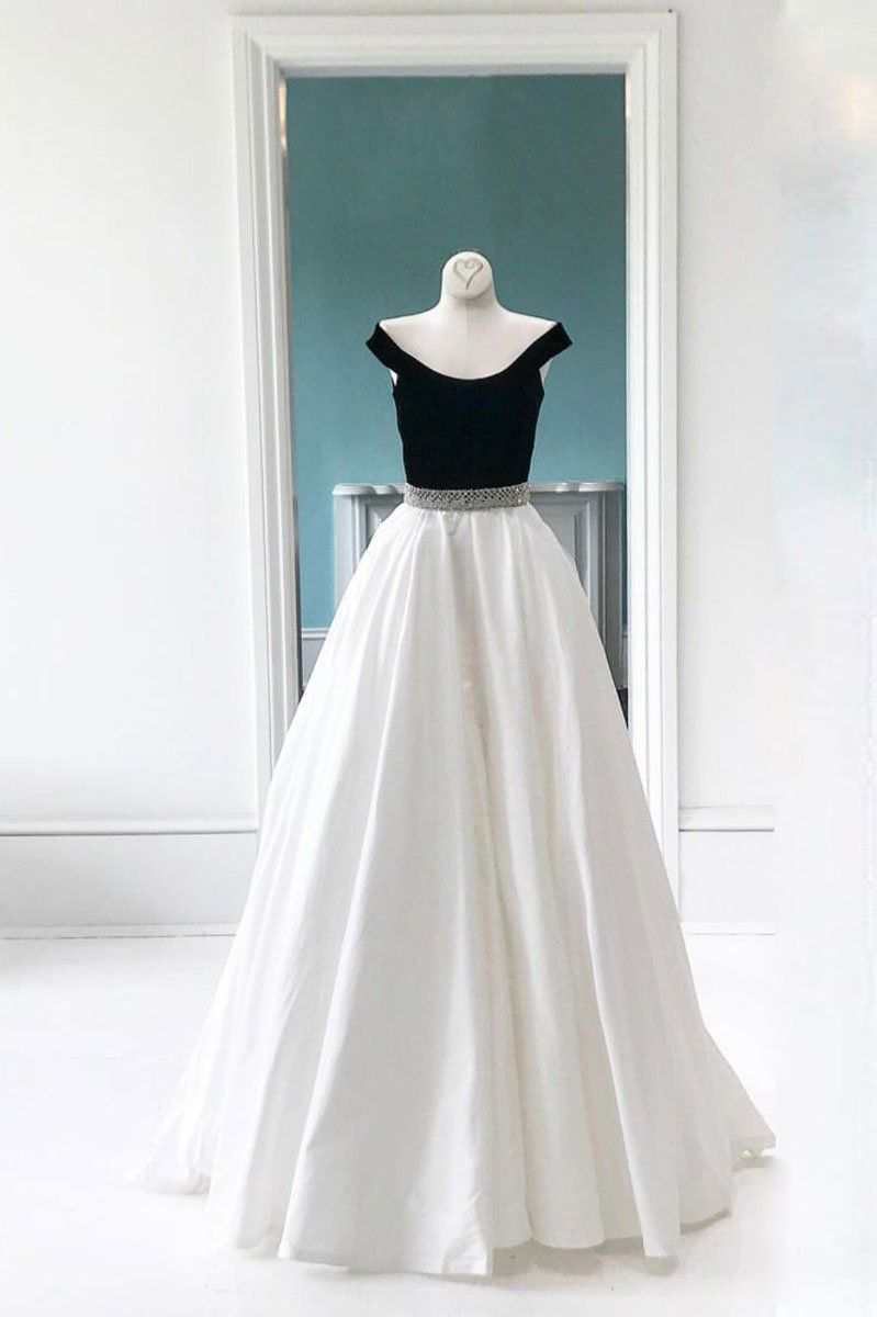 White round neck tulle lace long prom dress white lace wedding