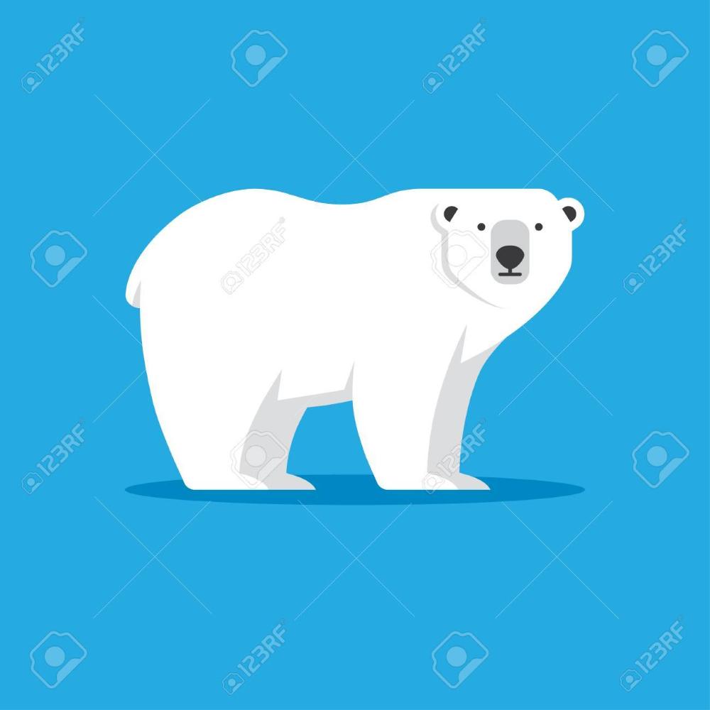 Polar Bear Icon In Flat Style Polar Bear Fashion Flats Polar