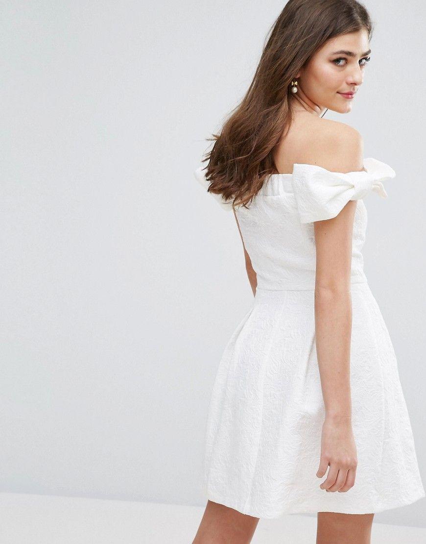 d7f549d41a8 Miss Selfridge Bow Bardot Skater Dress - White