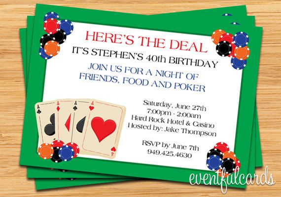 Poker Party Invitation Stationary Fonts Words Or