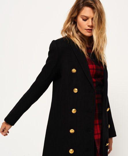 be1483fae3398f Superdry Priya Long Military Wool Coat Black | Website | Wool coat ...