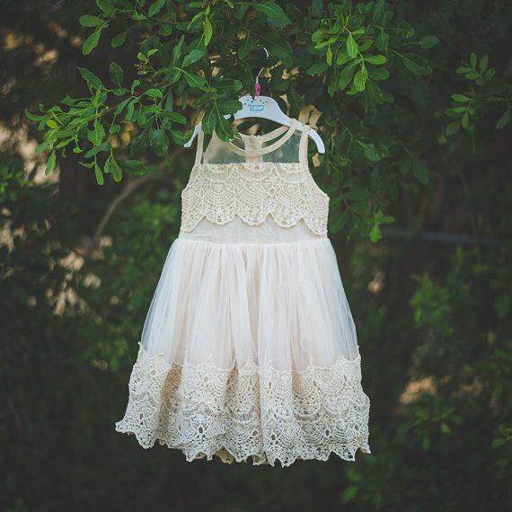 Cream Beige Crochet Flower Girl Dress, Shabby Chic Ivory Dress, Rustic Wedding Dress, Vintage Girls Dress, Champagne Flower Girl Dress  Gorgeous special occasion dress for your sweet little girl. Perfect for use as a flower girl for a wedding or any other big day in your little ones life! See below for measurements to ensure you get the best fit possible. I recommend going more based on length than anything else and always size up if you are unsure. Please dont hesitate to message me should…