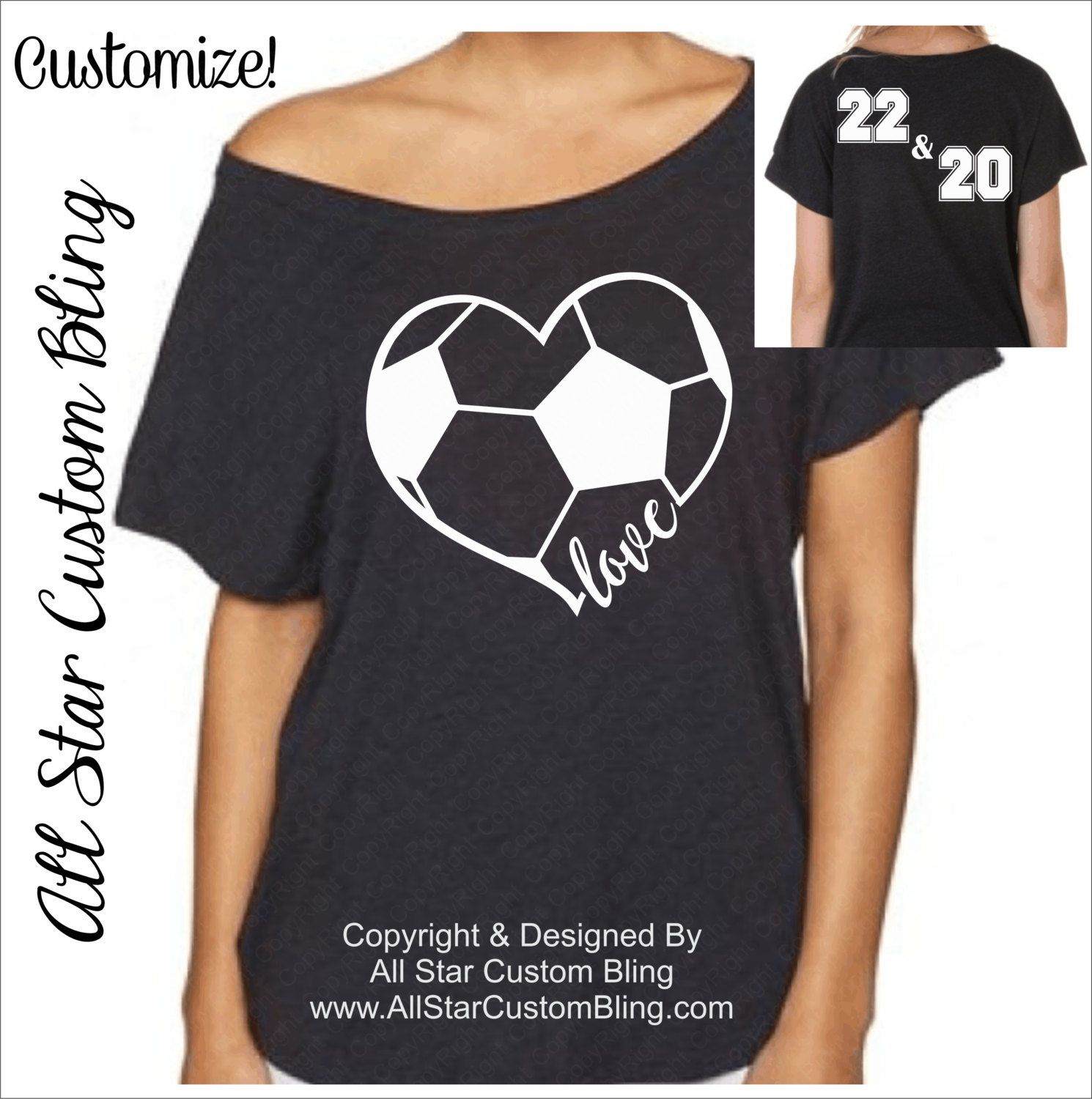 ce0bd007e3f9 Custom Glitter Soccer Heart Off Shoulder Shirt With Two Player Numbers,  Glitter Soccer Mom Shirt, Soccer Dolman Shirt, Soccer Heart Love Tee by ...