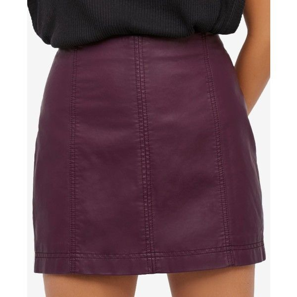 18af678f8d Free People Modern Femme Faux-Leather Mini Skirt ($60) ❤ liked on Polyvore  featuring skirts, mini skirts, wine, mini skirt, vegan leather skirt, faux  ...