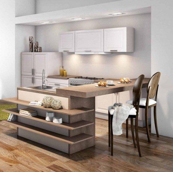 Dise os de cocinas peque as y sencillas con desayunador Disenos de cocinas modernas para apartamentos pequenos