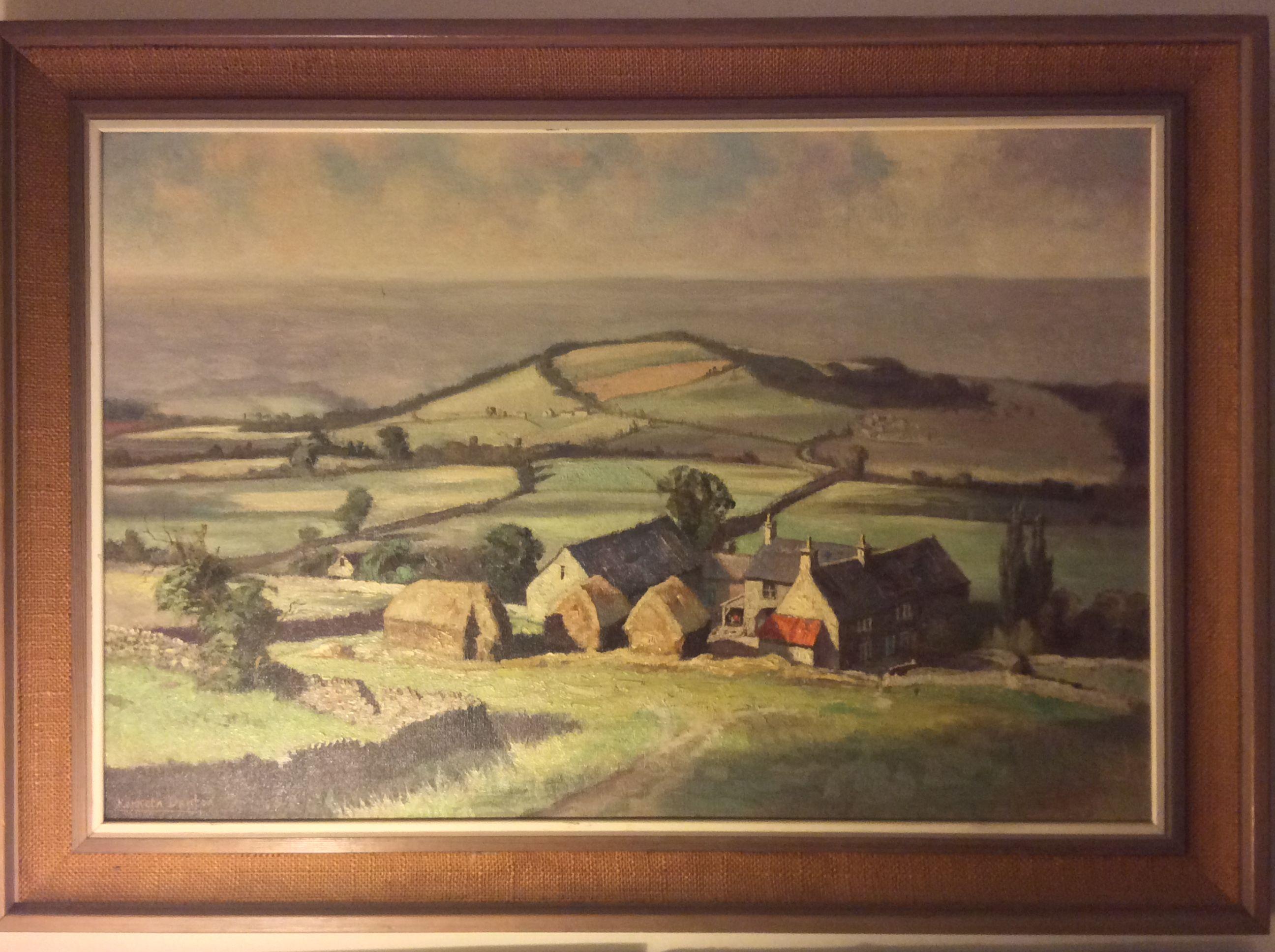 """Morning Sunlight""  Kenneth Denton  landscape 1970 Ashover Derbyshire 30x20 in"