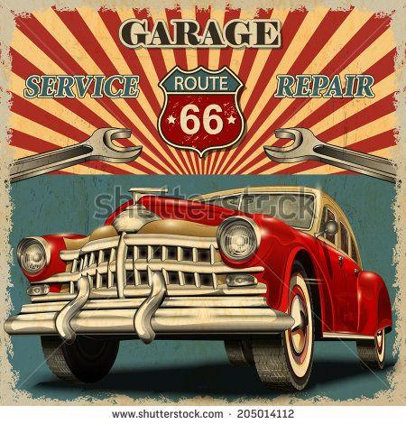 Vintage garage retro poster | kilosale poster | Pinterest