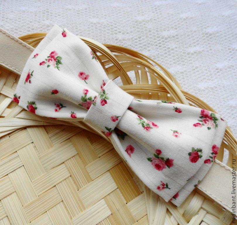 """Галстук бабочка """"Нежные Розы"""" - кремовый,цветочный,бабочка галстук,галстук бабочка купить"""