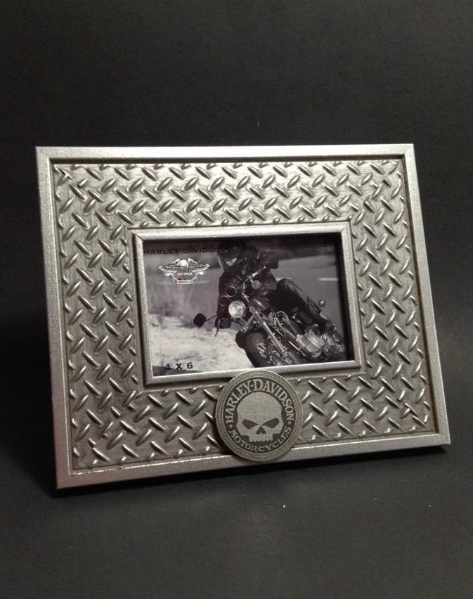 Harley Davidson Motorcycles Picture Frame Skull Diamond Plate 4x6 ...