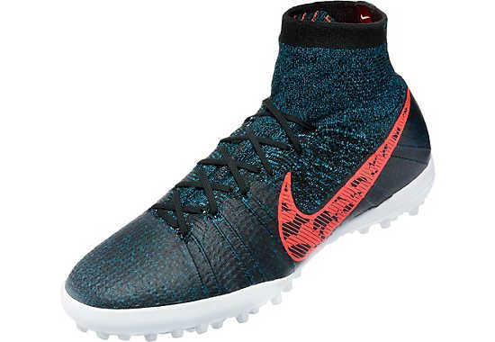 Nike Elastico Superfly Turf Shoes Black with Blue Lagoon