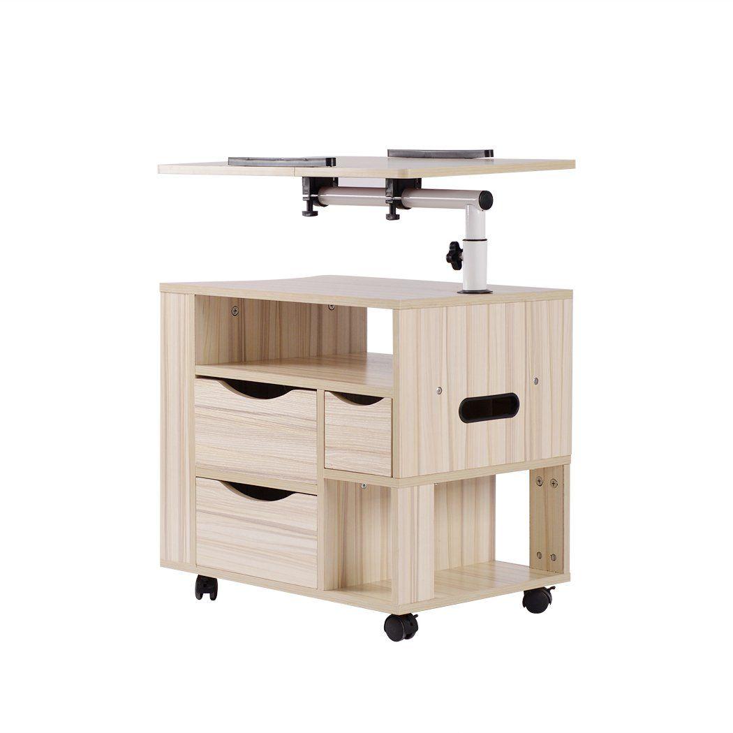 Wisforbest 3 In 1 Beistelltisch Mit Rollen Nachttisch Mit 3 Schubladen Drehbar Laptopt In 2020 Hohenverstellbarer Schreibtisch Beistelltisch Rollen Sofa Beistelltisch