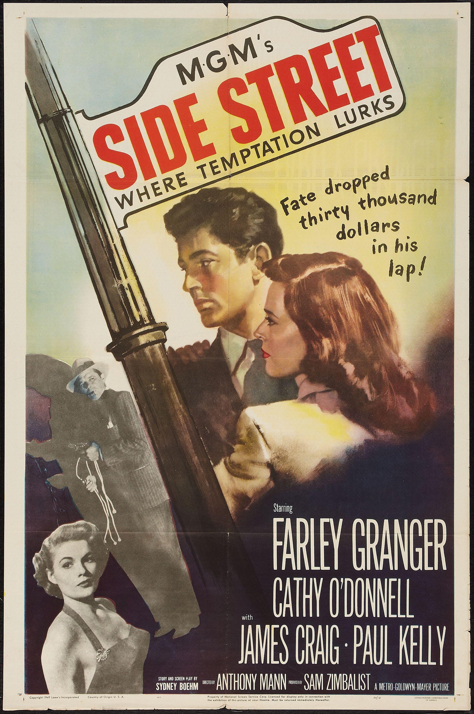 "SIDE STREET film noir movie poster /""where temptation lurks/"" twisted 24X36"