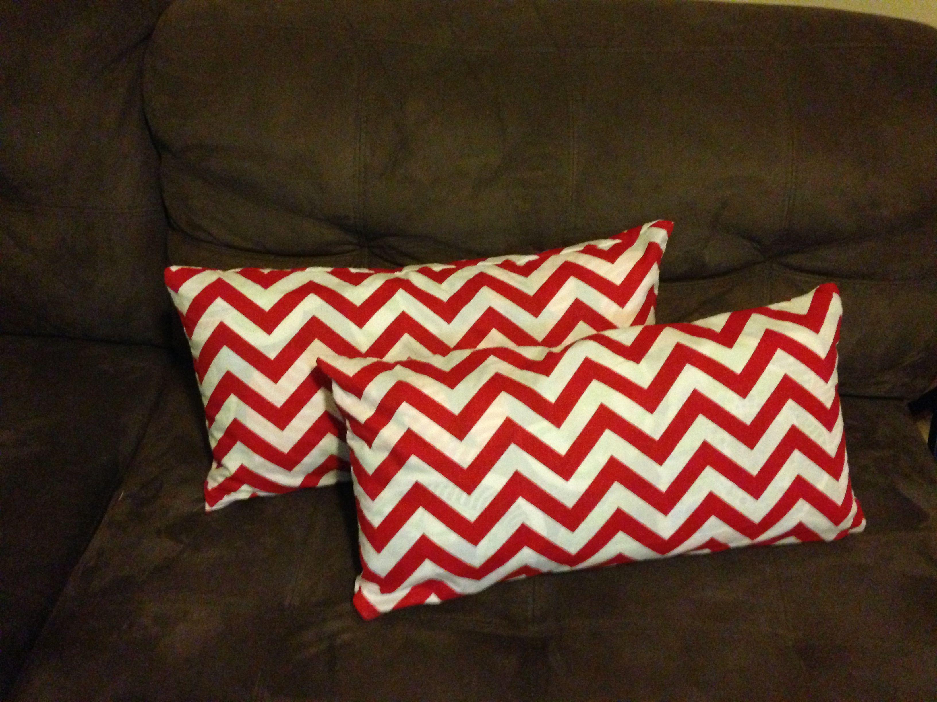 Made for a client. Lipstick/white chevron cushions www.fabric.com