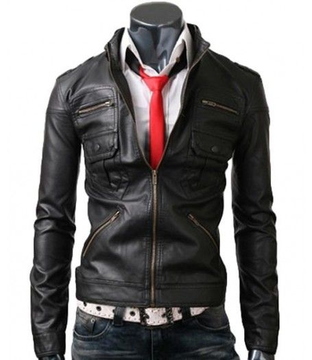 Zip Pocket Mens Slim Fit Black Jacket Black Leather Jacket Men Leather Jacket Men Slim Fit Jackets