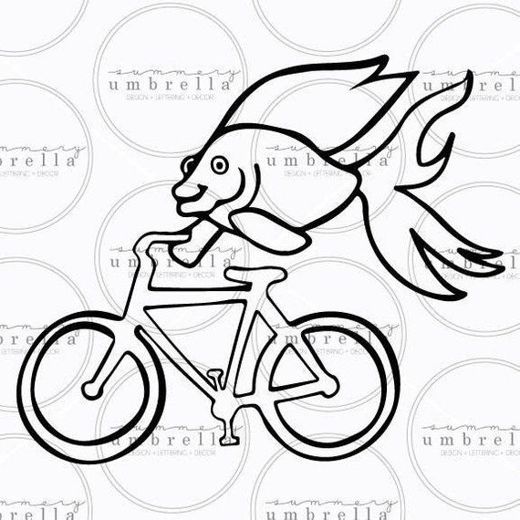 Fish On Bicycle Svg Fish Vector Bicycle Clipart Svg Cut File