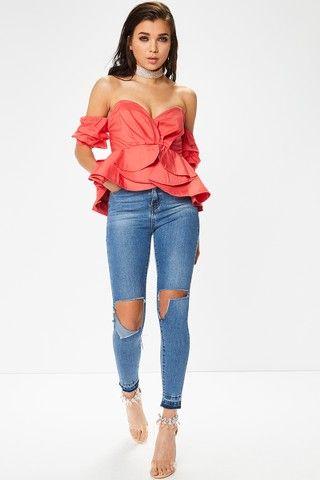 6eb01141e9443 Evie Coral Bardot Ruffle Sleeve Top