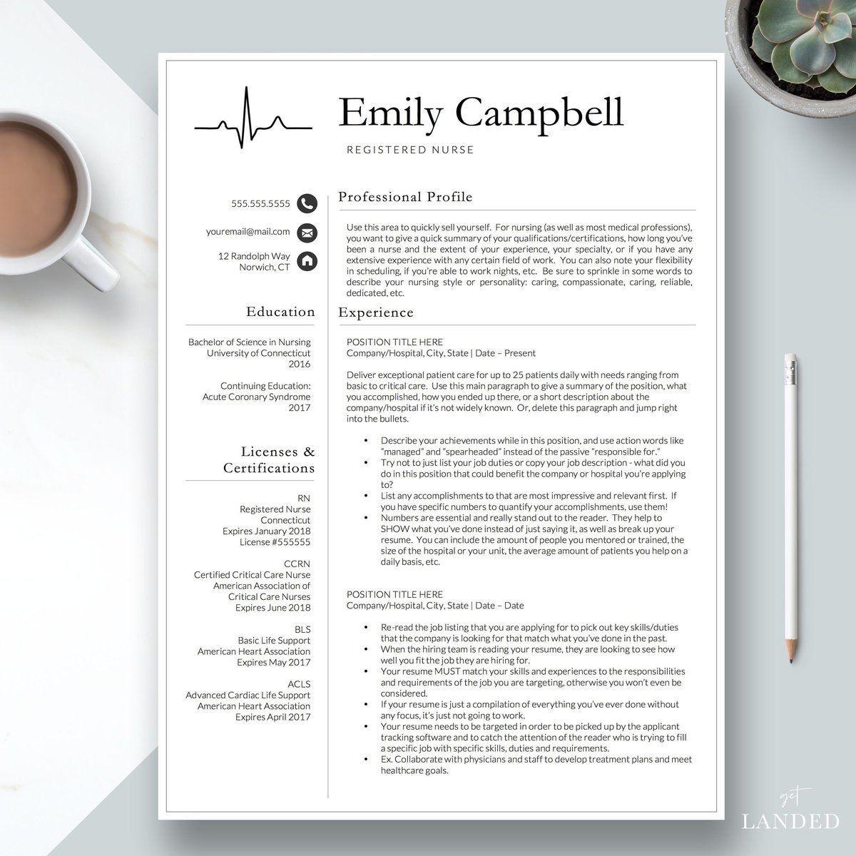 """Nursing Resume Template, Nurse Resume / """"The Emily"""