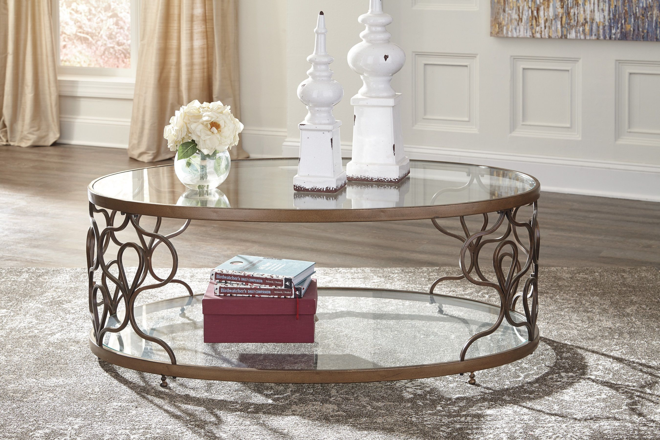 Charmant Farloni Oval Coffee Table T086 By Ashley Furniture Bronze Tempered Glass  Geometric Shapes