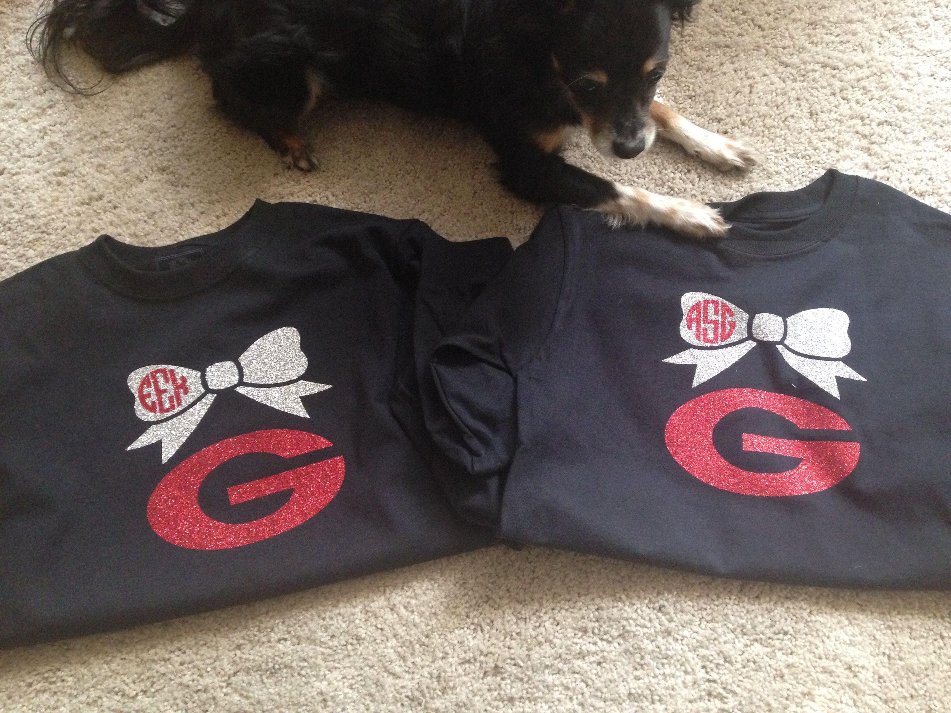 Georgia Bulldog Tshirts With Bow And Monogram Bulldog Tshirt