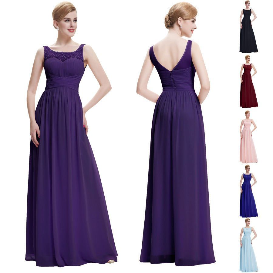 Dress for wedding evening party   Beaded Chiffon Evening Cocktail Party Wedding Bridesmaid Long