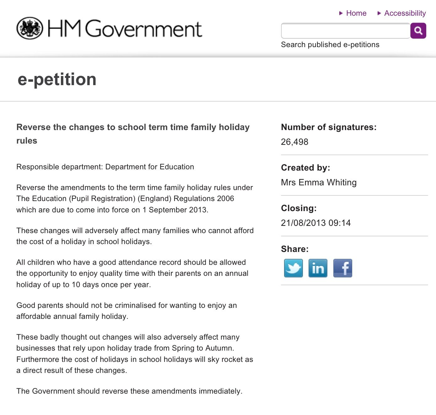Reverse the changes to school term time family holiday rules. Please read, sign and share this e-petition.  http://epetitions.direct.gov.uk/petitions/49640