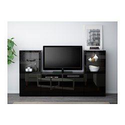 """BESTÅ TV storage combination/glass doors - black-brown/Selsviken high gloss/black clear glass, drawer runner, soft-closing, 94 1/2x15 3/4x50 3/8 """" - IKEA"""