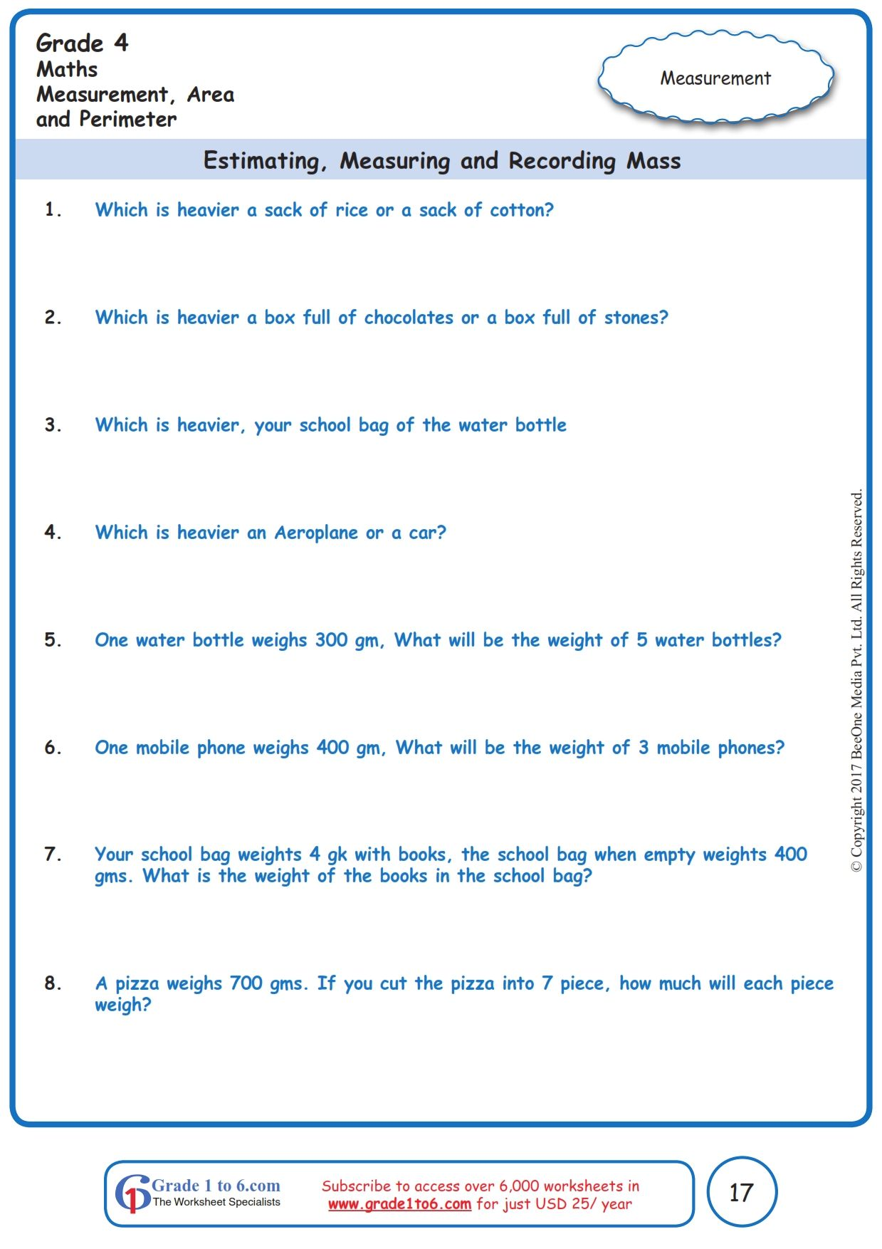 Worksheet Grade 4 Math Estimating Measuring And