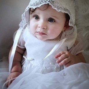 Baby lace bonnet to match gown named Leisel #bonnets