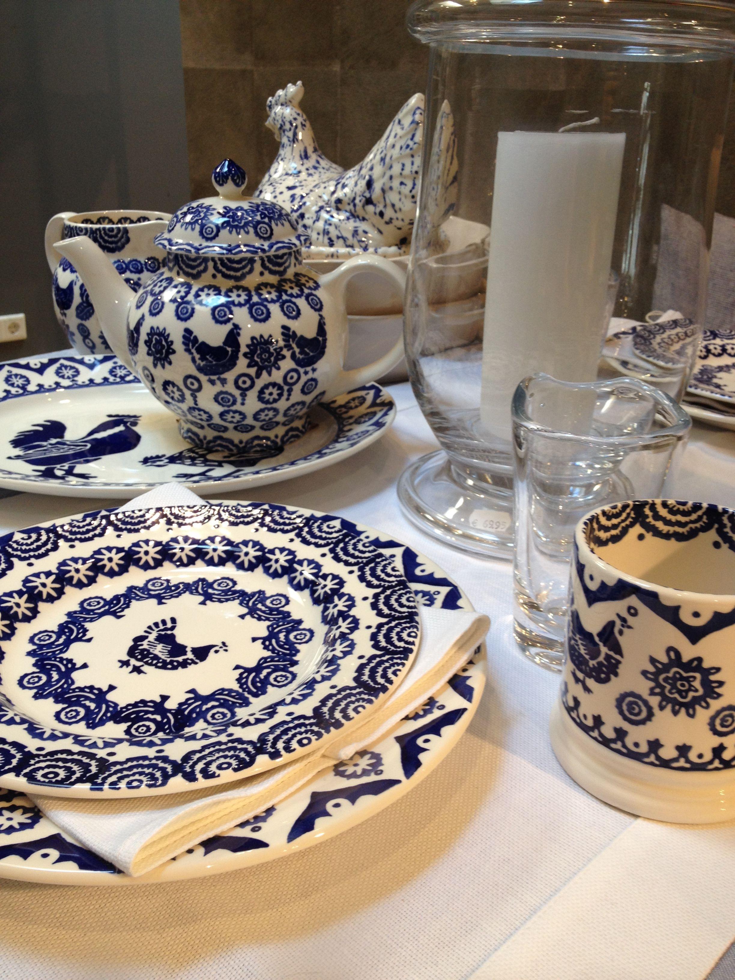 Emma Bridgewater Blue Hen & Border, Splatter Hen on Nest, Scapa Home textiles, Flamant glass www.byhedges.nl