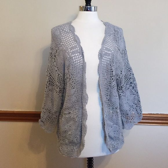 crochet kimono sleeve open front cardigan sweater Ramie, cotton ...