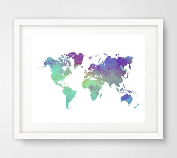 Purple World Map Print Mint World Map Print World Map By Ikonolexi - Pink world map poster