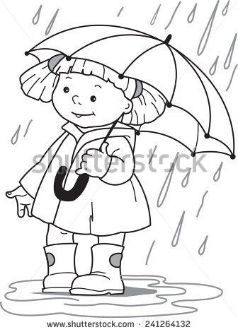 Little Girl In A Raincoat And Rubber Boots Hiding Under An