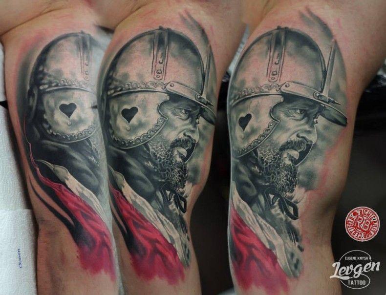 Tatuaże Czarno Biały Husarz Kolorowy Mężczyzna Husaria